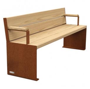 banc Primium 450 bois et acier longueur 1800 mm avec accoudoirs procity fabrication francaise