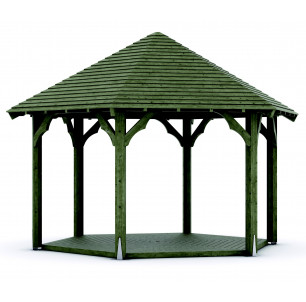 Kiosque bois diam 4m toit clin