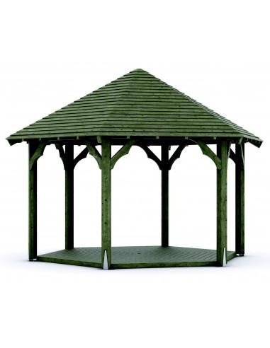 Kiosque bois diam 6m toit clin