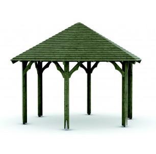 Kiosque bois diam 8m toit clin
