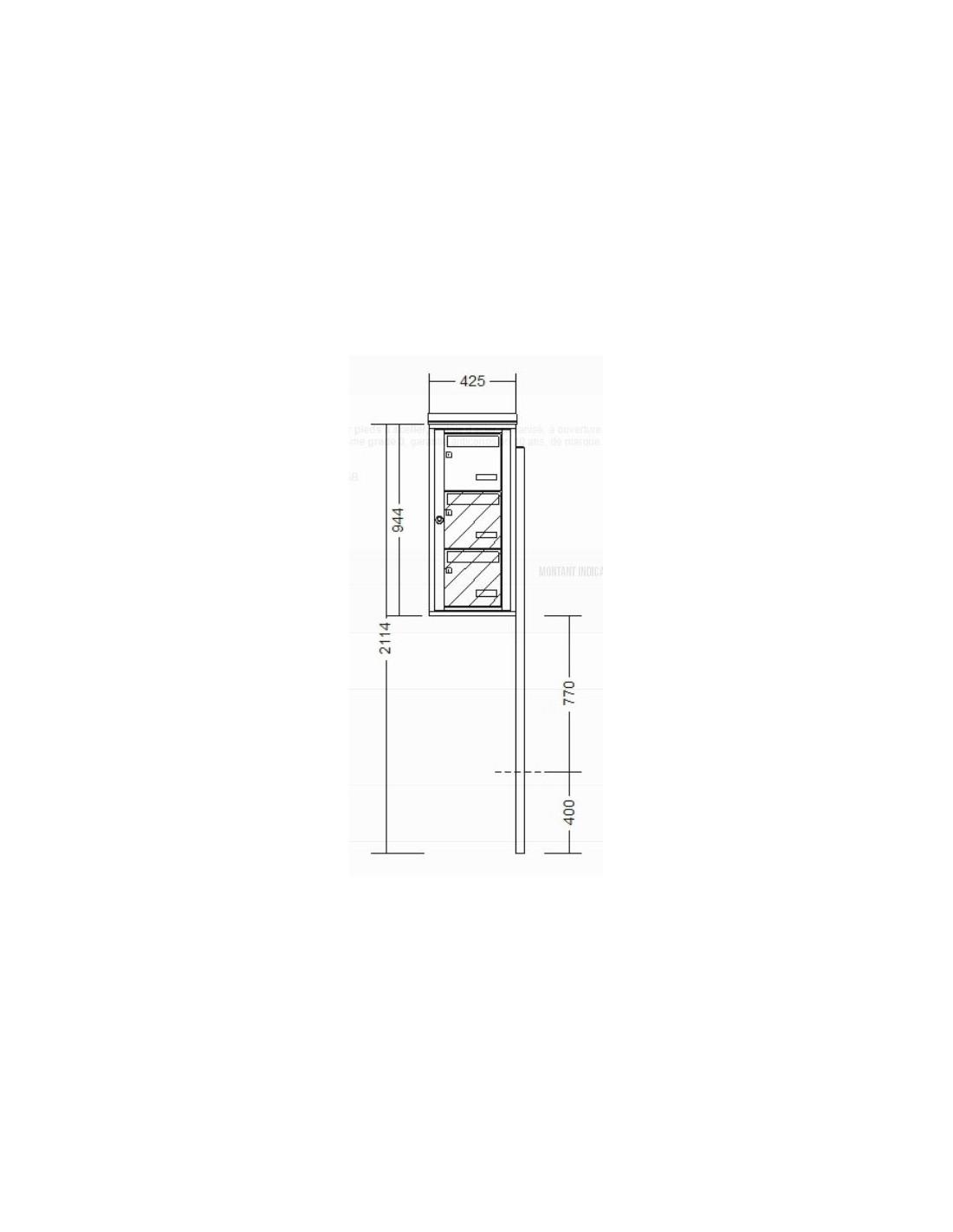 bo te aux lettres 3 volumes sur pied. Black Bedroom Furniture Sets. Home Design Ideas