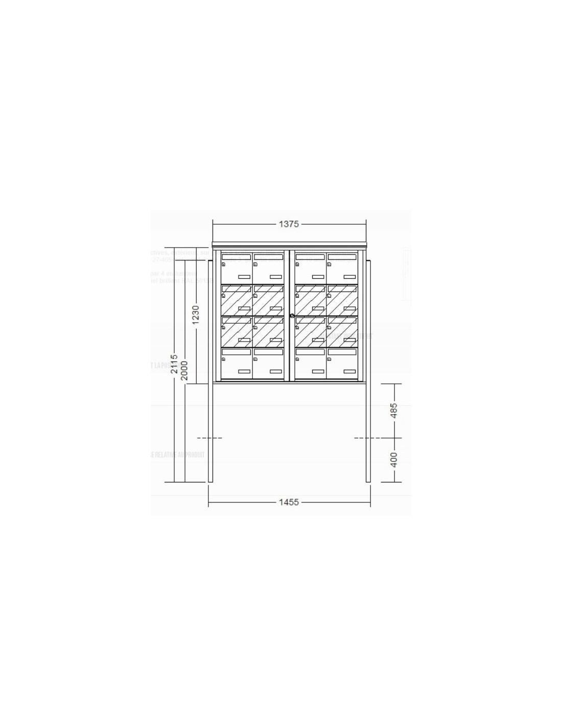 bo te aux lettres 16 volumes sur pied. Black Bedroom Furniture Sets. Home Design Ideas
